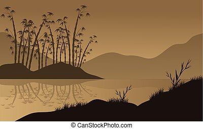 vector landscape with bamboo silhouette