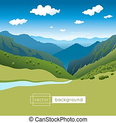 Vector landscape with blue sky, mountains, river and clouds....
