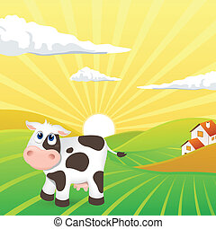 Vector Landscape with Cow