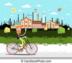 Vector Landscape with Factory. Man on Bicycle.
