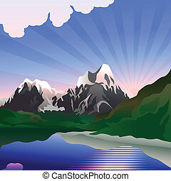 Vector landscape with sunrise over the mountain lake