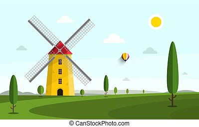 Vector Landscape with Windmill and Trees on Field
