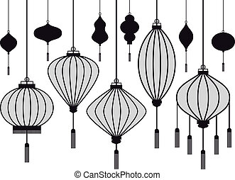 vector lantern - set of chinese lantern, vector silhouettes