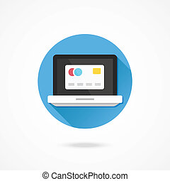 Vector Laptop and Credit Card Icon