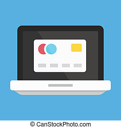 Vector Laptop and Credit Card Icon Online Banking Concept