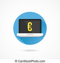 Vector Laptop and Euro Sign Icon