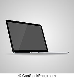 Vector laptop isolated on gray with empty screen