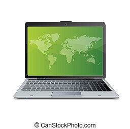 Vector laptop isolated on white