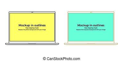 Vector laptop mockup in outlines, black and golden