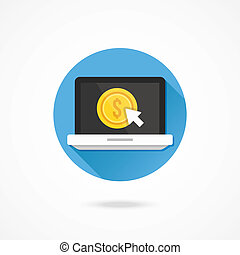Vector Laptop Pay per Click Icon