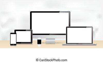 Vector Laptop Smartphone Smartwatch Tablet Desktop Computer