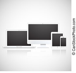 Vector laptop, tablet, monitor and phone