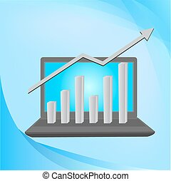 vector laptop with business or profits growth bar graph