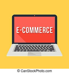 Vector laptop with e-commerce word