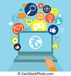 Vector laptop with social media icons - internet concept in...