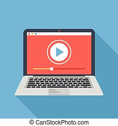 Vector laptop with video player