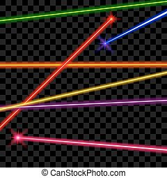 Vector laser beams on transparent plaid background. Ray...