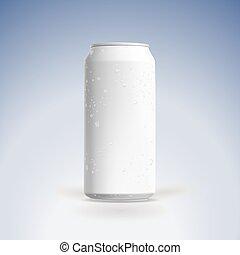 vector, lata, drops., cerveza, agua, mockup, photorealistic