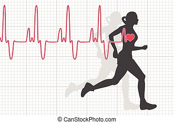 vector, latido del corazón, corriente, mujer, electrocardiograma