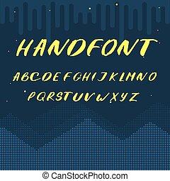 vector, latijns alfabet, brieven, -, gele, met de hand geschreven, lettertype