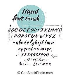 vector, latijns alfabet, cursief, font., met de hand geschreven, brieven