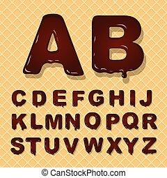 Vector latin capital alphabet made of chocolate. Font style.