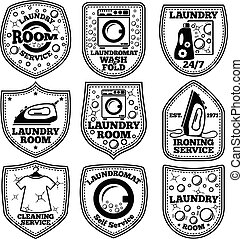Vector Laundry Labels Set With Laundromat Iron Clothes Bubbles Detergent Etc
