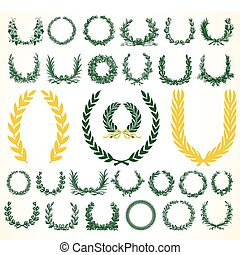 Set of detailed vector victory laurel wreaths. Easy to edit and change colors.