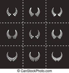 vector, laurel guirlandes, set, pictogram