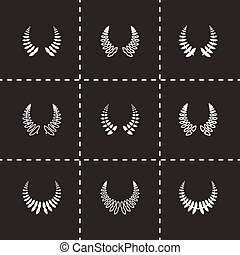 Vector laurel wreaths icon set on black background
