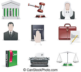 Vector law and order icon set. - Set of juridical related...