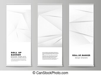 Vector layout of roll up mockup design templates for vertical flyers, flags design templates, banner stands, advertising design. Halftone effect decoration with dots. Dotted pop art pattern decoration