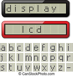 vector LCD display pixel font - lowercase characters