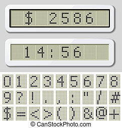 vector LCD display pixel font - number symbol characters