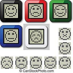 vector LCD display pixel smiley faces