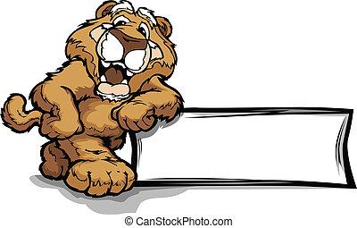 vector, león, señal, propensión, montaña, puma, sonriente, o, mascota, ilustración