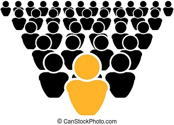 Vector Leadership Concept Icon, Out of Crowd, Be Different, Leader.