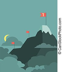 Vector leadership concept with mountain landscape of retro design.