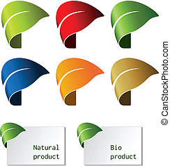 leaf - bent tape, symbol for natural product - Vector leaf -...