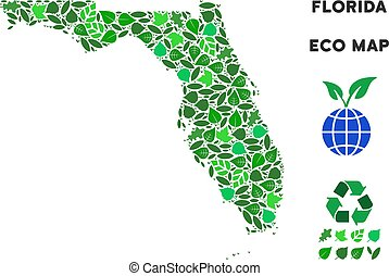 Vector Leaf Green Collage Florida Map