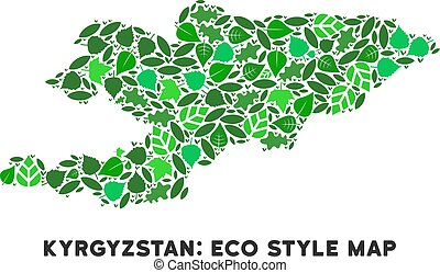 Green kyrgyzstan map. Map of administrative divisions of kyrgyzstan.