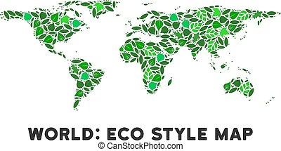 Vector Leaf Green Collage World Map