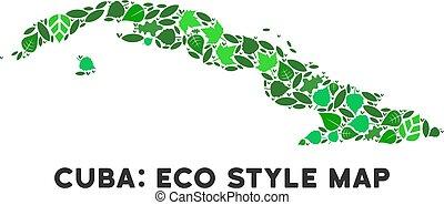Vector Leaf Green Mosaic Cuba Map