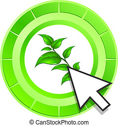 Vector leaf icon green button