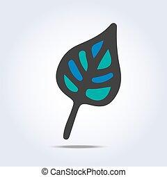 Vector leaf icon hand drawn
