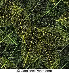 Vector leaf seamless on black background