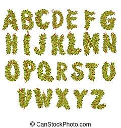 Vector leaves alphabet letters
