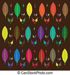 vector leaves multi-colored