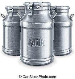 vector, leche, aislado, contenedores, lata