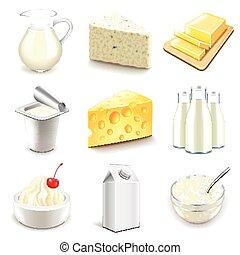 vector, lechería, conjunto, productos, iconos